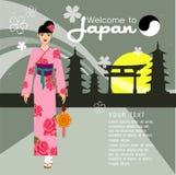 I capelli lunghi delle belle donne con progettazione del vestito del Giappone, progettazione di vettore Fotografie Stock