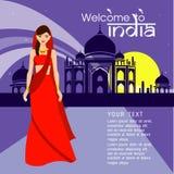 I capelli lunghi delle belle donne con progettazione del vestito dell'India, progettazione di vettore Immagine Stock