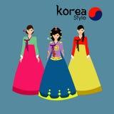 I capelli lunghi delle belle donne con progettazione del vestito della Corea, progettazione di vettore Fotografia Stock