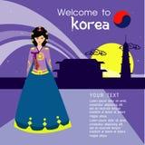 I capelli lunghi delle belle donne con progettazione del vestito della Corea, progettazione di vettore Immagini Stock