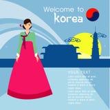 I capelli lunghi delle belle donne con progettazione del vestito della Corea, progettazione di vettore Fotografia Stock Libera da Diritti