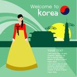 I capelli lunghi delle belle donne con progettazione del vestito della Corea, progettazione di vettore Fotografie Stock