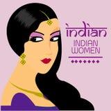 I capelli lunghi delle belle donne indiane con progettazione porpora di vettore del vestito Immagine Stock
