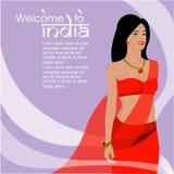 I capelli lunghi delle belle donne indiane con progettazione porpora di vettore del vestito Immagini Stock Libere da Diritti