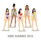 I capelli lunghi delle belle donne nella progettazione del bikini, progettazione di vettore Immagine Stock