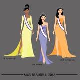 I capelli lunghi delle belle donne nella progettazione del vestito, progettazione di vettore Fotografia Stock