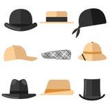 I cappelli degli uomini messi Fotografia Stock