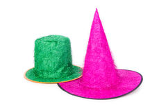 I cappelli del partito isolati sui precedenti bianchi Immagini Stock Libere da Diritti