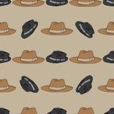 I cappelli modellano su disegnato a mano beige Oggetti isolati su beige Immagine Stock Libera da Diritti