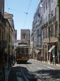 Tram in Lisbon City in Portugal royalty free stock photography