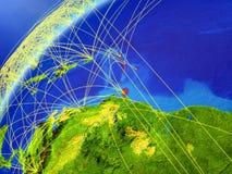 I Caraibi sul modello di pianeta Terra con le reti internazionali Concetto della comunicazione digitale e della tecnologia illust illustrazione vettoriale