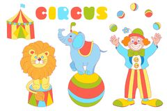 I caratteri del circo clown, elefante, insieme di vettore del leone royalty illustrazione gratis