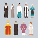 I caratteri della gente di religione hanno messo, uomini e donne delle confessioni religiose differenti in vestiti tradizionali Fotografia Stock