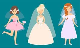 I caratteri delle spose di nozze vector la donna di modo del matrimonio della celebrazione dell'illustrazione illustrazione di stock