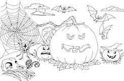 I caratteri e gli attributi della festa Halloween Immagine Stock Libera da Diritti