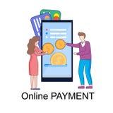 I caratteri hanno messo le monete sullo schermo di Smartphone enorme royalty illustrazione gratis