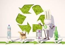 I caratteri metallici, della bottiglia e della plastica della carta, vanno per riciclare illustrazione di stock