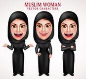 I caratteri musulmani di vettore della donna hanno messo i vestiti neri d'uso del hijab Immagini Stock Libere da Diritti