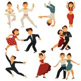 I caratteri piani delle icone di vettore della gente di dancing ballano i balli differenti illustrazione vettoriale