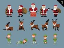 I caratteri Santa Deer Elf Various Poses di Natale hanno messo 1 Immagini Stock Libere da Diritti
