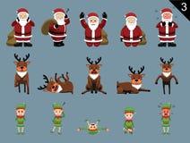 I caratteri Santa Deer Elf Various Poses di Natale hanno messo 3 Immagini Stock Libere da Diritti