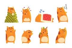 I caratteri svegli del criceto del fumetto mettono, animale divertente che mostra che le varie azioni ed emozioni vector le illus royalty illustrazione gratis