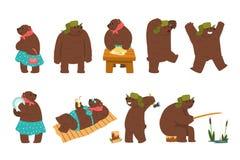 I caratteri umanizzati dell'orso mettono, orsi bruni maschii e femminili che indossano i vestiti umani nel vettore differente del illustrazione di stock