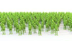 I caratteri verdi della folla con le mani ondeggiano con le ombre royalty illustrazione gratis