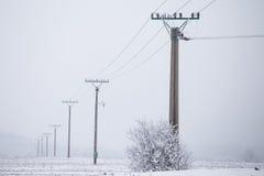 I cavi ad alta tensione dei piloni elettrici nell'inverno hanno coperto la neve Fotografia Stock