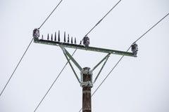I cavi ad alta tensione dei piloni elettrici nell'inverno hanno coperto la neve e Fotografia Stock