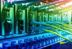 I cavi ottici della fibra hanno connesso all'le porte ottiche Immagini Stock Libere da Diritti