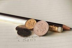 I centesimi di Singapore coniano sullo SGD del complemento con la matita in bianco e nero fotografia stock libera da diritti