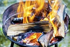 I ceppi che bruciano in un fuoco scavano le grandi fiamme dorate Immagini Stock