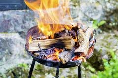 I ceppi che bruciano in un fuoco scavano le grandi fiamme dorate Fotografia Stock