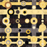 I cerchi colorati e le linee sottraggono l'effetto geometrico di lerciume dell'illustrazione di vettore del fondo Immagine Stock