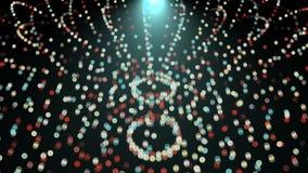 I cerchi luminosi di Digital in palla modellano nello spazio nero - l'astrazione moderna, il fondo generato da computer, 3D rende illustrazione vettoriale
