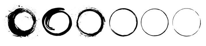 I cerchi neri astratti di pennellata della pittura imballano Insieme di simboli di stile della spazzola dell'inchiostro di zen di illustrazione vettoriale