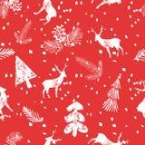 I cervi di Natale attillano il modello senza cuciture Fotografia Stock Libera da Diritti
