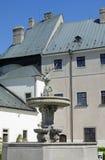 I cervi nel cortile del castello Cerveny Kamen, Slovacchia Fotografia Stock Libera da Diritti