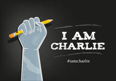 I Am Charlie Slogan in English with elements on Black background. An illustration of a fist on air with pencil and the English version of Je Suis Charlie plus vector illustration