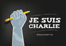 I Am Charlie Slogan in French with elements on Black. A Fist on air holding a pencil with text Je Suis Charlie and a hashtag. Vector and jpg royalty free illustration
