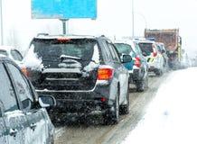 I-294 Chicago Datenbahn während des Schnee-Sturms Lizenzfreie Stockfotos