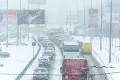 I-294 Chicago Datenbahn während des Schnee-Sturms Stockfoto