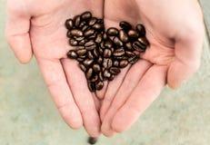 I chicchi di caffè hanno portato dentro una mano in una forma del cuore Fotografie Stock Libere da Diritti