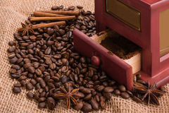 I chicchi di caffè hanno sparso su tela da imballaggio Fotografia Stock