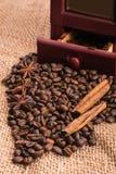 I chicchi di caffè hanno sparso su tela da imballaggio Immagini Stock