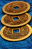 I-ching. Three coins used in oriental philosophy i-ching stock photos