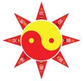 I Ching Yin Yang Symbol Eight Trigram. Yin Yang two suns rotating eight trigram symbol Stock Image