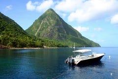 I chiodi da roccia nello St Lucia Fotografie Stock Libere da Diritti