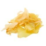 I chip del Durian fritti fanno un spuntino la frutta, isolat croccante dei chip della frutta del Durian immagine stock libera da diritti